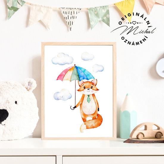 Plakát lišák deštník