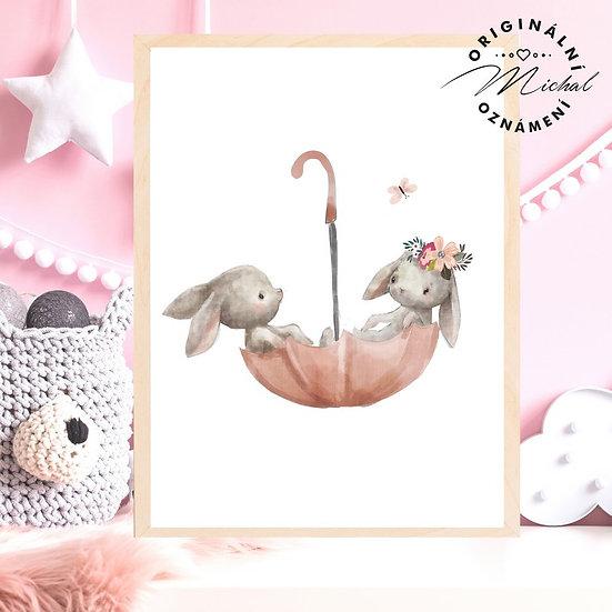 Plakát zajíčkové v deštníku