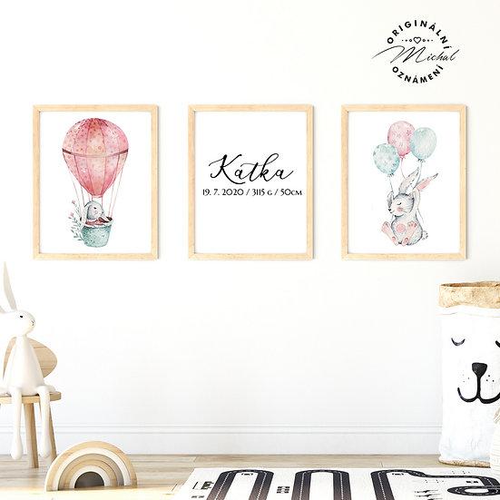 Plakát set zajíčkové králíčci pro holčičky