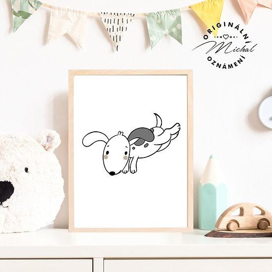 Plakát pes v běhu