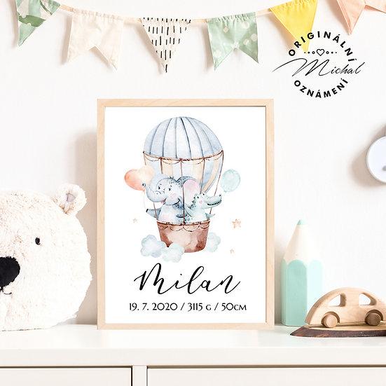 Plakát zvířátka kamaráda létající balón