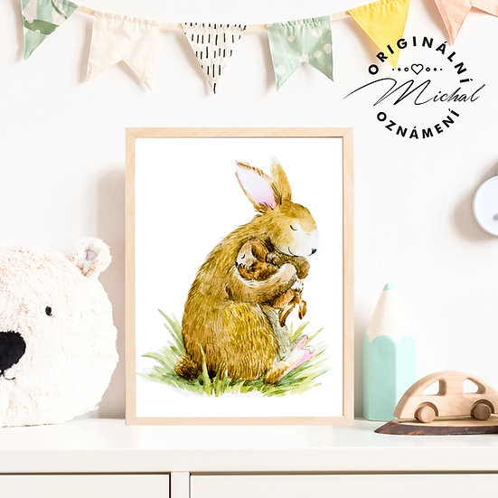 Plakát zajíček maminka a mláďátko