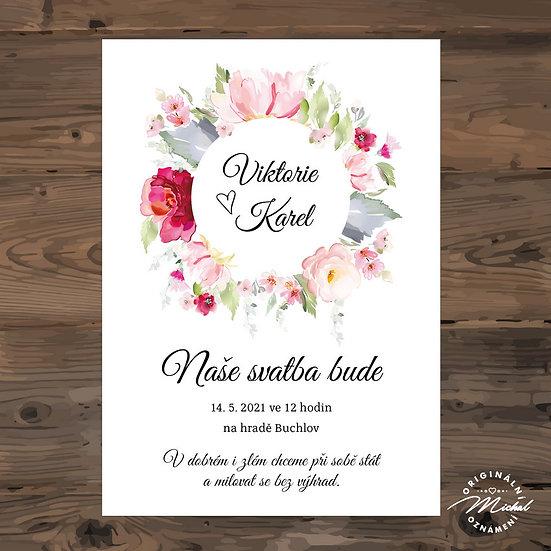 Svatební oznámení, věneček