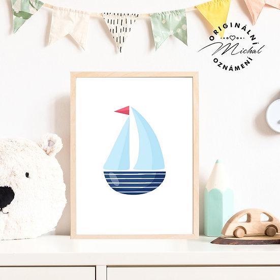 Plakát lodička loď moře
