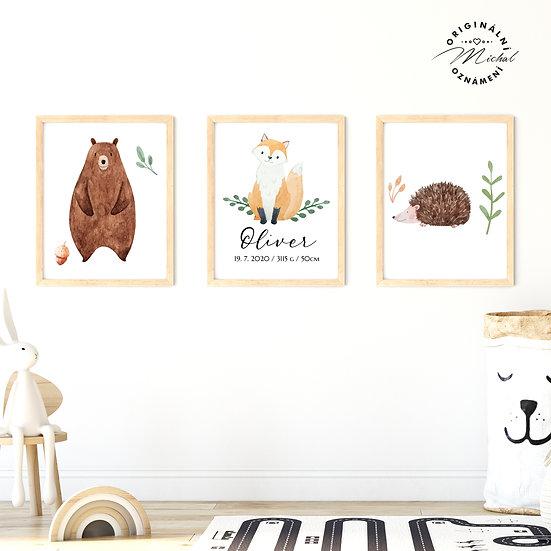 Plakát lesní set se jménem medvídek, lišák, ježek