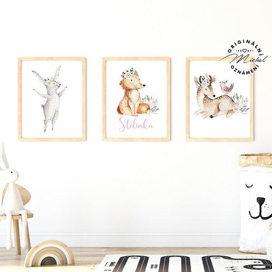 Plakát set zajíček, liška a srnečka