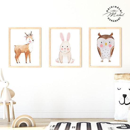 Plakát set zajíček, srnečka a sova