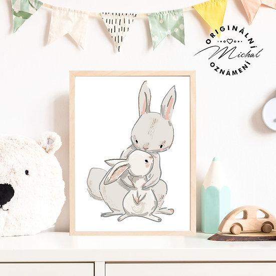 Plakát zajíček s maminkou