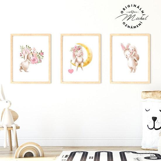 Plakát set zajíček holčička 2