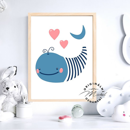 Plakát velryba velrybka srdíčko