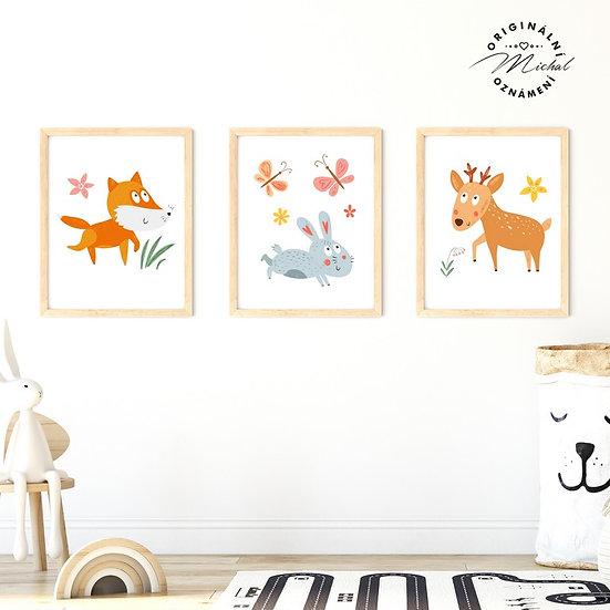 Plakát set veselá lesní zvířátka