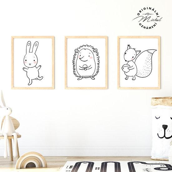 Plakát set zajíček ježek veverka les