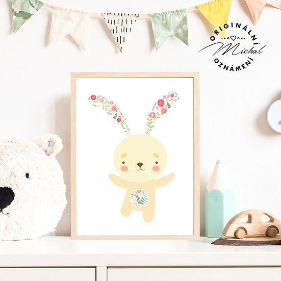 Plakát roztomilý zajíček květy