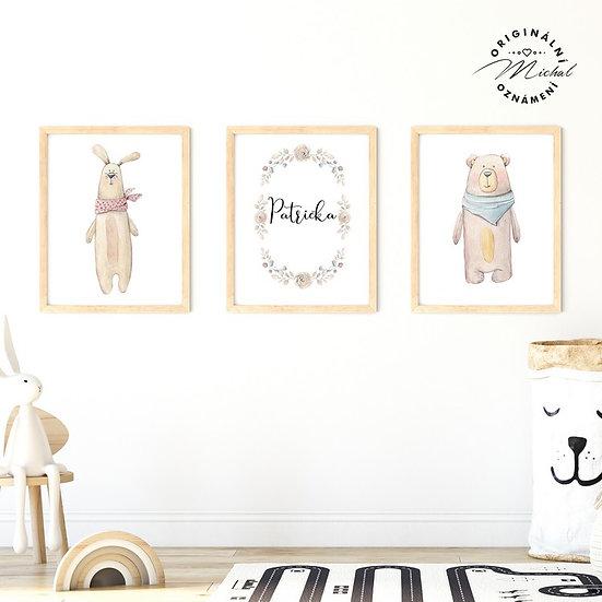 Plakát medvídek a zajíček set