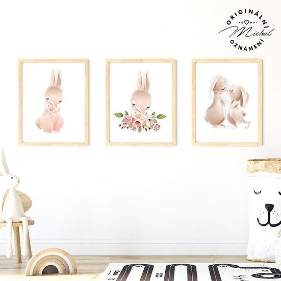 Plakát set zajíčkové s maminkou pro holčičky