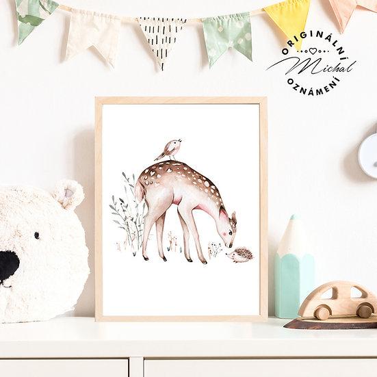 Plakát lesní zvířátka srnečka ptáček ježek