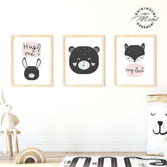 Plakát set zajíček, medvídek a liška