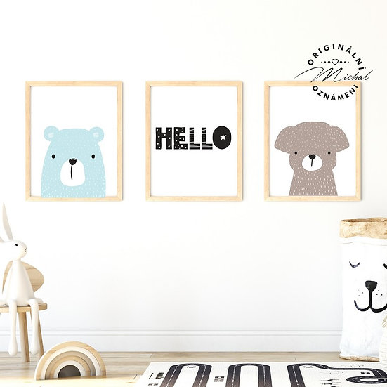 Plakát set medvídek a pejsek Hello