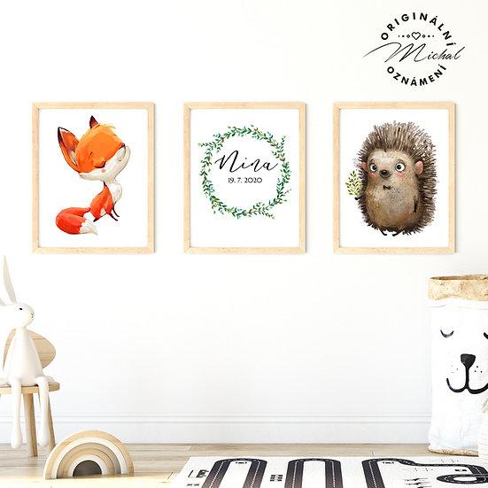 Plakát ježci věnec se jménem set