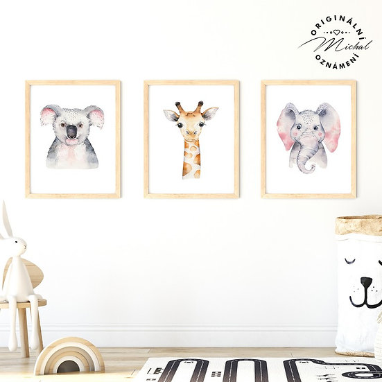 Plakát set koala žirafa slon
