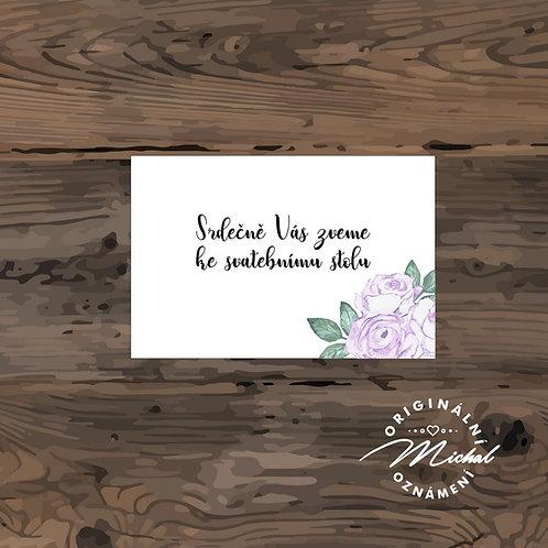 Pozvánka ke svatebnímu stolu, srdečně vás zveme ke svatebnímu stolu