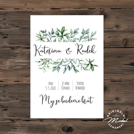 Svatební oznámení - TYP 304