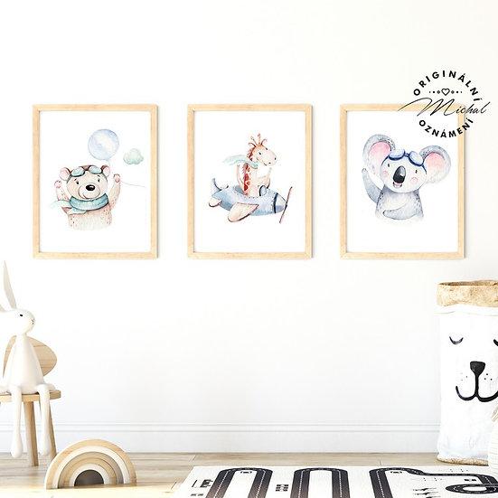Plakát set letadélko, koala, žirafa a medvídek