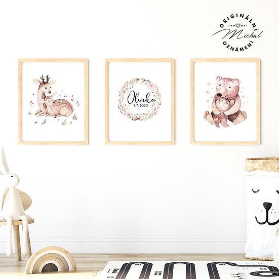 Plakát set lesní zvířátka mláďátka s mámou