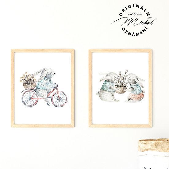 Plakát set zajíček na kole a zajíček zvířátka obrázky