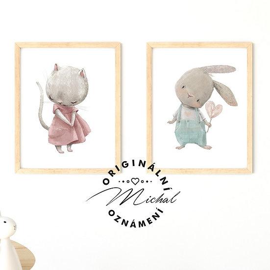 Plakát set zvířátka miláčci kočika a zajíček
