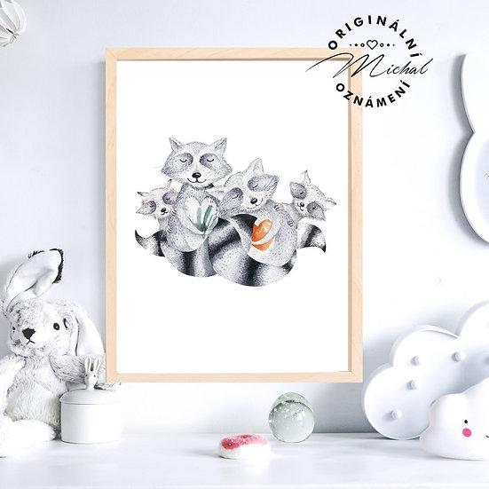 Plakát zvířátka rodina