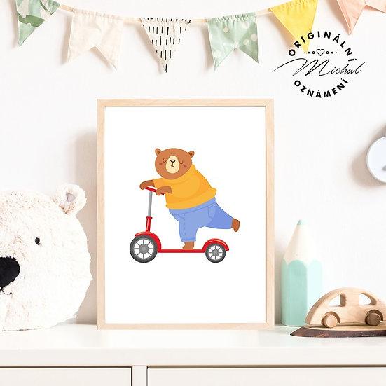 Plakát medvídek koloběžka dopravní prostředky