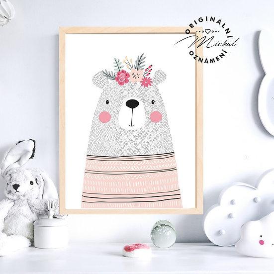 Plakát medvídek s květy holka