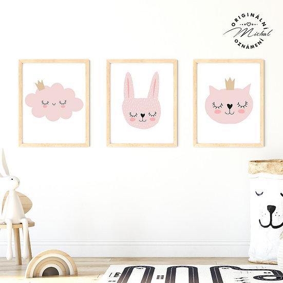Plakát pro holčičky mráček, králíček a kočička
