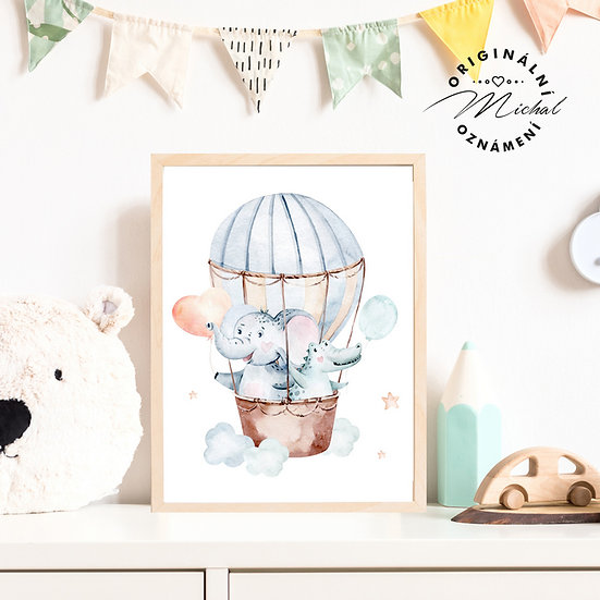 Plakát zvířátka v balóně pro kluky slon a kamarádi
