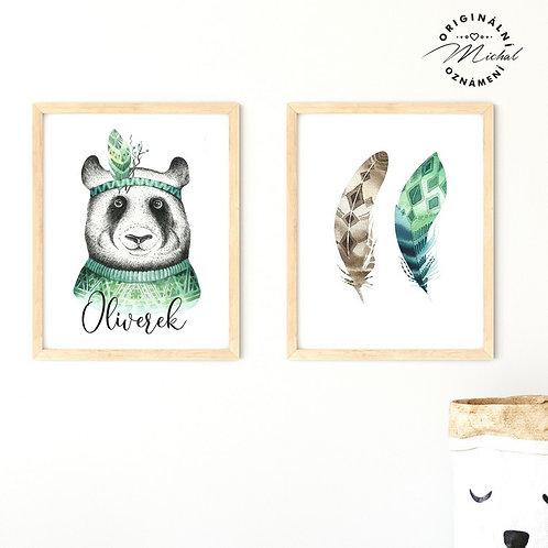 Plakát set panda se jménem