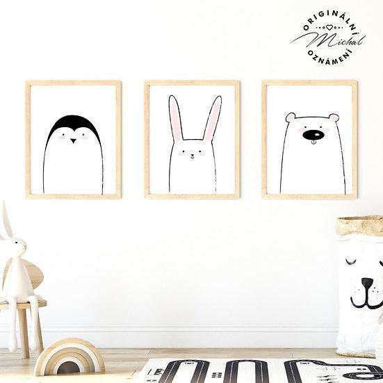 Plakát set moderní zvířátka