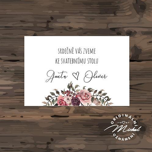 Pozvánka ke svatebnímu stolu - TYP 293