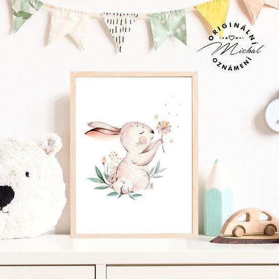 Plakát zajíček kytička králíček
