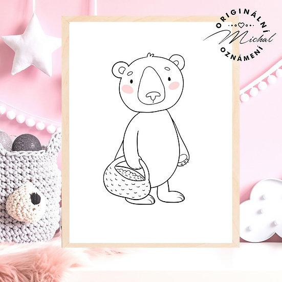 Plakát medvídek s košíčkem les