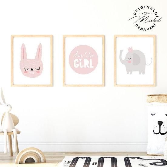 Plakát set pro holčičky zajíček a sloneček