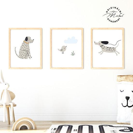 Plakát set pejsci dalmatini s ptáčkem
