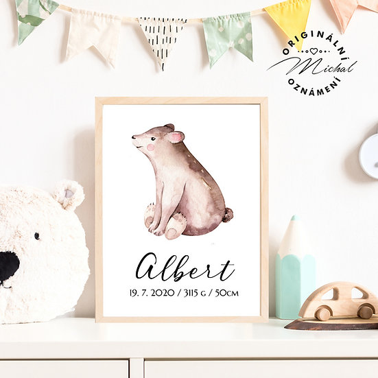Plakát medvídek Gustav se jménem