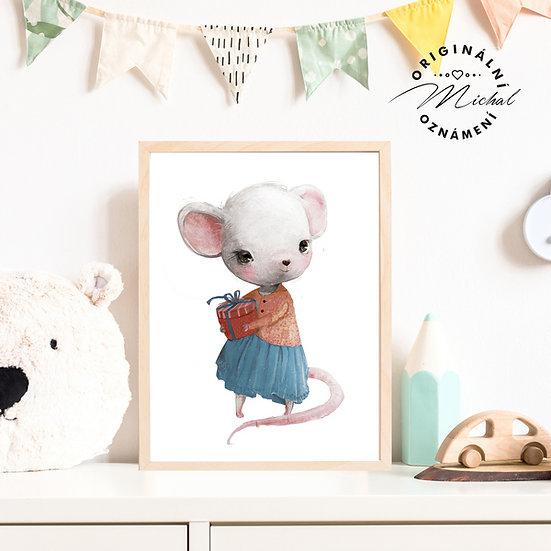 Plakát myška s dárečkem