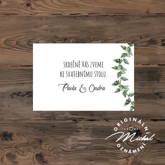 Pozvánka ke svatebnímu stolu - TYP 172