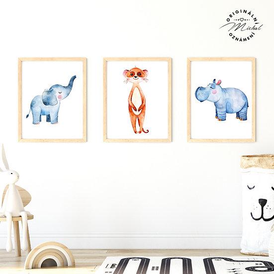 Plakát set slon hrošík surikata