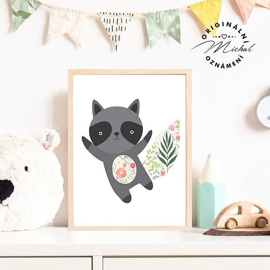 Plakát zvířátko s květy