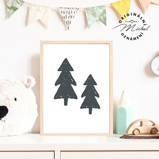 Plakát les stromy
