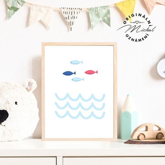 Plakát rybičky ryby vlnky