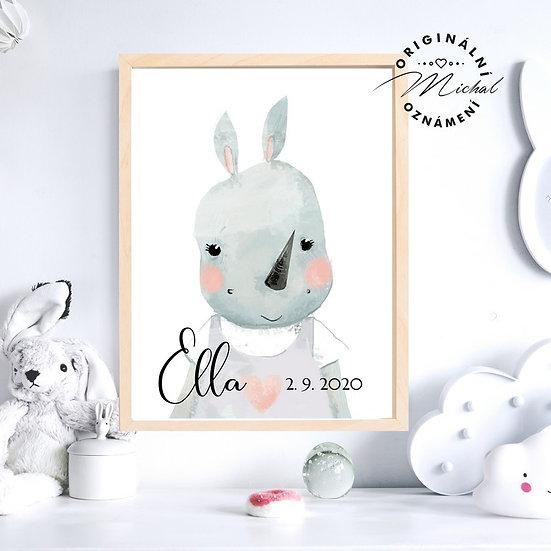 Plakát hroší holčička hroch se jménem